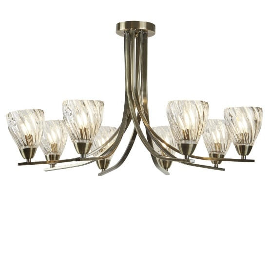 Ascona II 8 Light Ceiling Flush In Antique Brass