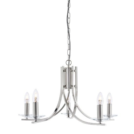 Ascona 5 Lamp Ceiling Light In Satin Silver With Glass Sconces