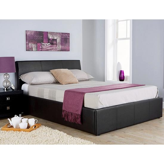 Ascot Fabric Double Bed In Black