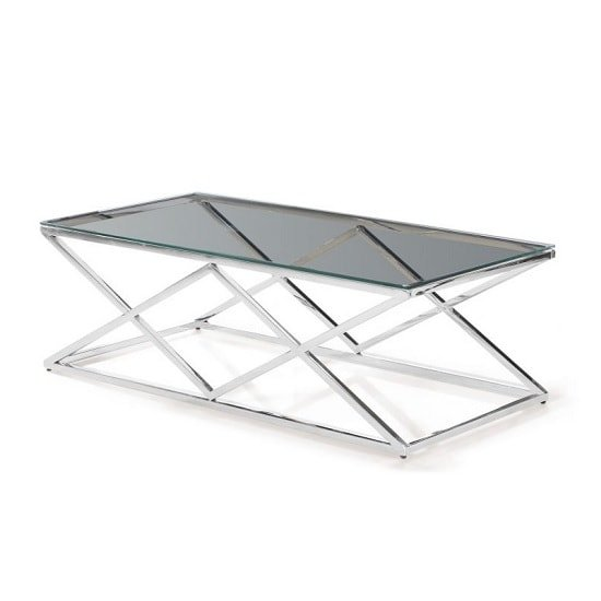 Ascot Glass Coffee Table In Clear With Polished Steel Frame