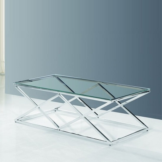 Ascot Round Glass Coffee Table: Ascot Glass Coffee Table In Clear With Polished Steel Frame