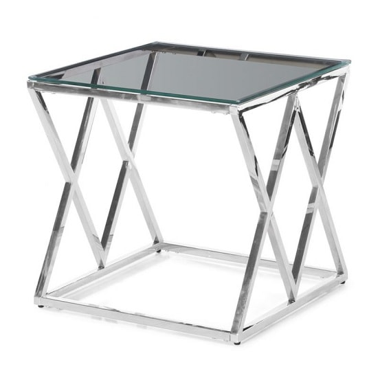 Ascot Glass Side Table In Clear With Polished Steel Frame_1