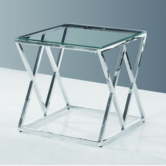 Ascot Glass Side Table In Clear With Polished Steel Frame_2