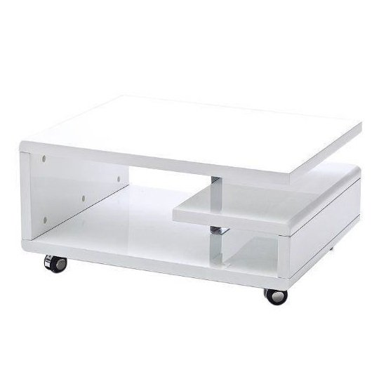 Asellus Coffee Table In White High Gloss With Castors