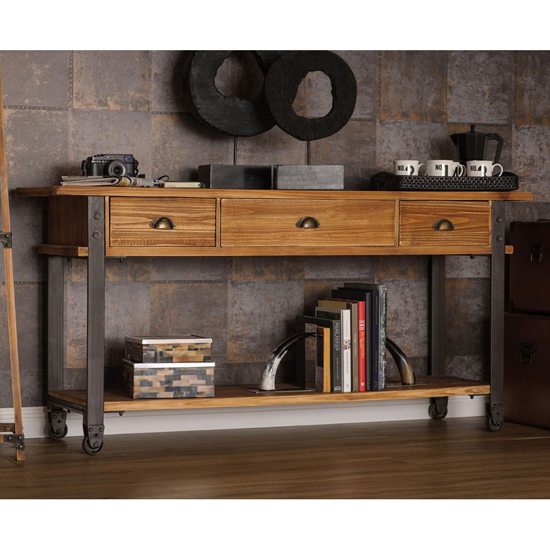 Ashbling Wooden 3 Drawers Console Table In Natural