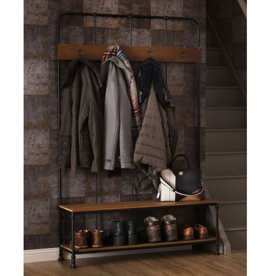 Ashbling Wooden Hallway Bench With Coat Rack In Natural