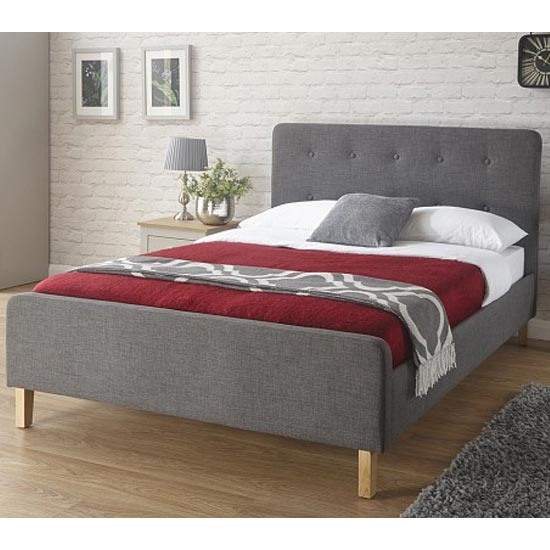 Ashbourne Fabric Double Bed In Grey