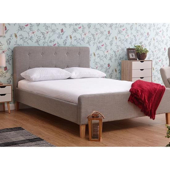Ashbourne Wooden Double Bed In Light Grey
