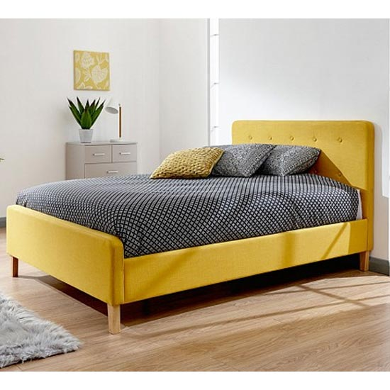 Ashbourne Wooden Double Bed In Yellow