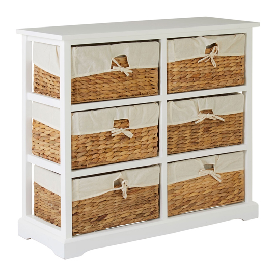 Ashbile Wooden 6 Drawers Chest In White     _2