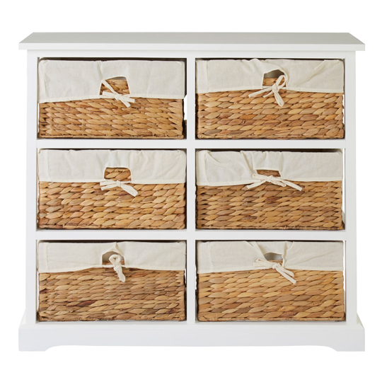 Ashbile Wooden 6 Drawers Chest In White     _1