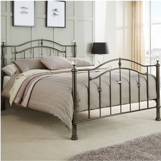 Ashley Metal Double Bed In Black Nickel
