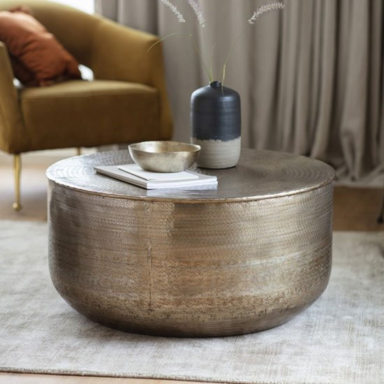 Ashta Metal Round Coffee Table In Bronze