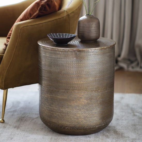Ashta Metal Round Side Table In Bronze_1