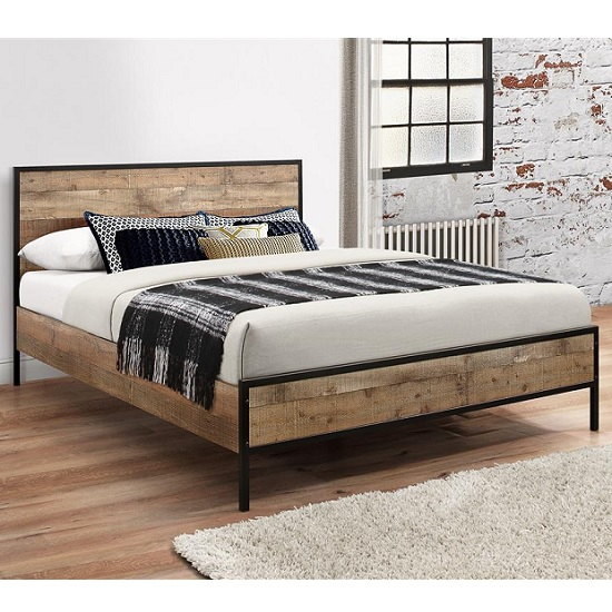 Product photograph showing Ashton Wooden Double Bed In Rustic With Metal Frame