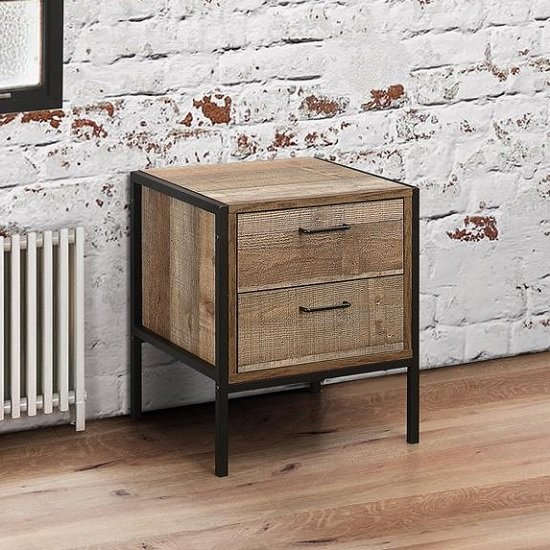 Product photograph showing Ashton Bedside Cabinet In Rustic With Metal Frame And 2 Drawers