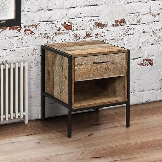 Product photograph showing Ashton 1 Drawer Bedside Cabinet In Rustic With Metal Frame