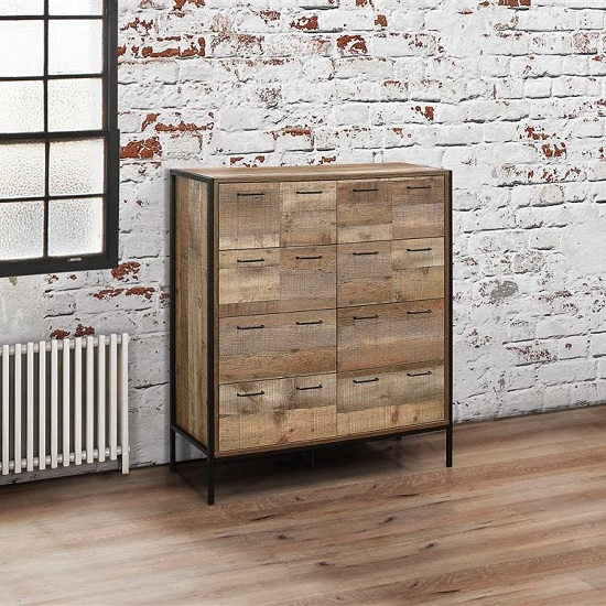 Product photograph showing Ashton Wooden Chest Of Drawers In Rustic With Metal Frame