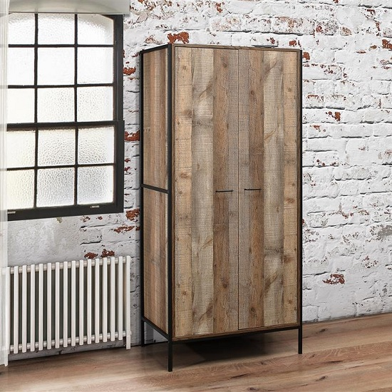 Product photograph showing Ashton Wooden Wardrobe In Rustic With Metal Frame And 2 Doors