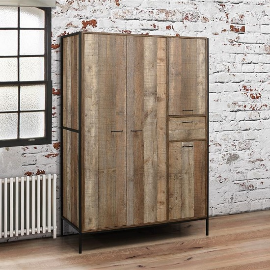 Product photograph showing Ashton Wardrobe Wide In Rustic With Metal Frame And 4 Doors
