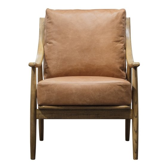 Ashwell Brown Leather Armchair With Oak Wooden Legs