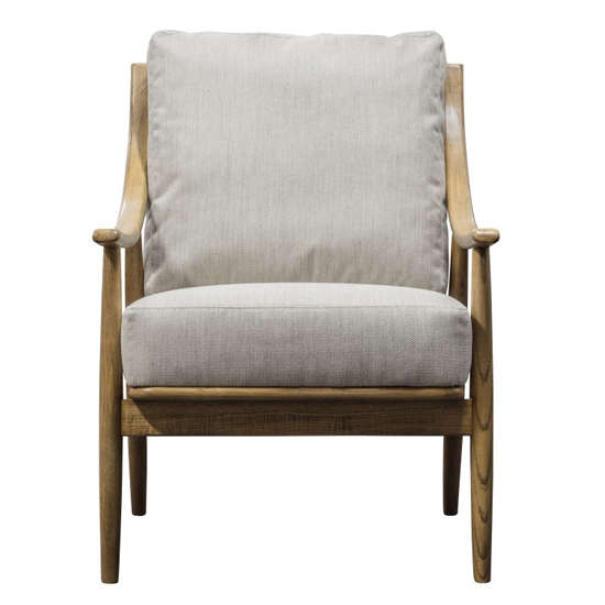 Ashwell Natural Linen Armchair With Oak Wooden Legs