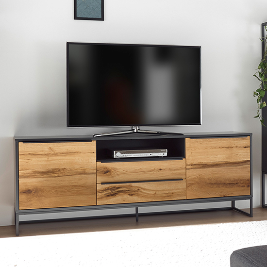 Asmara Wooden 2 Doors 2 Drawers TV Stand In Anthracite And Oak