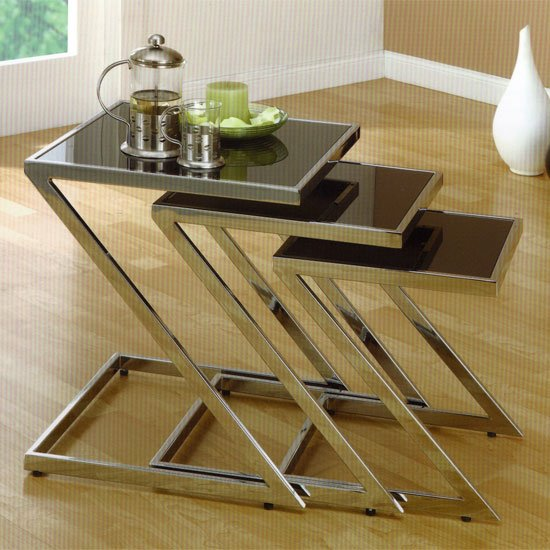 Black glass and chrome nest of tables shop for cheap tables and aspen glass nest of tables watchthetrailerfo
