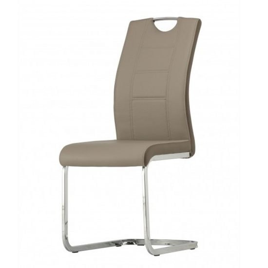 Aspen Faux Leather Dining Chair In Latte