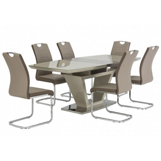 Aspen Glass Extending Dining Set In Latte With 6 Dining Chairs