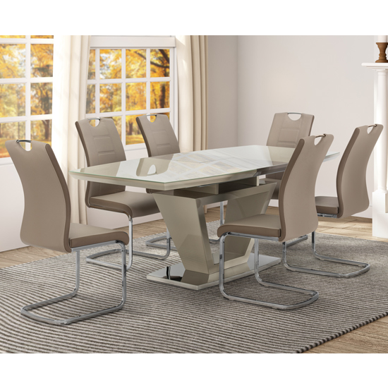 Aspen Latte Glass Extending Dining Table With 6 Chairs