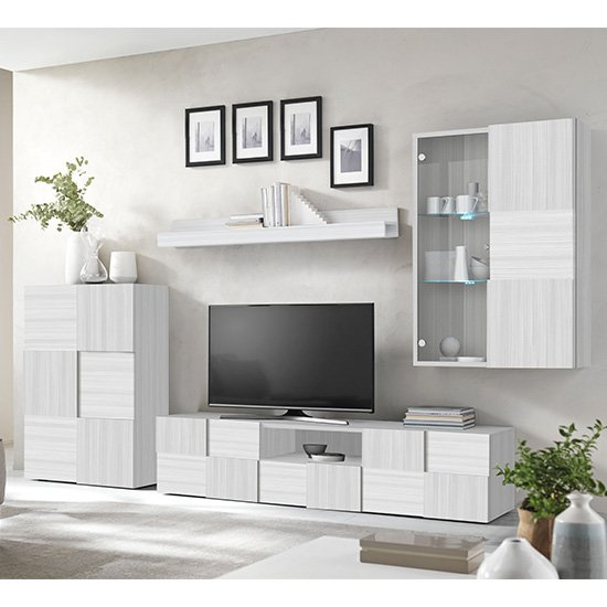 View Aspen led wooden living room furniture set in matt white