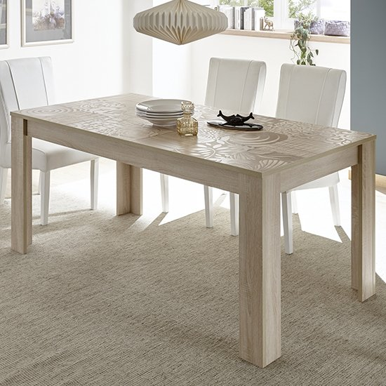 Aspen Rectangular Wooden Dining Table In Sonoma Oak