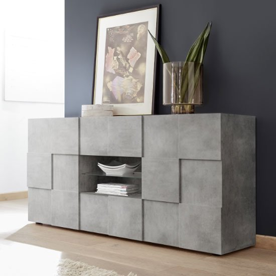 Aspen Wooden 2 Doors Sideboard In Concrete With 2 Drawers