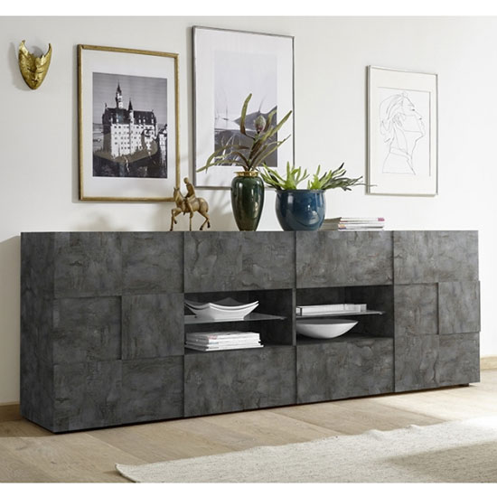 Aspen Wooden 2 Doors Sideboard In Oxide With 4 Drawers