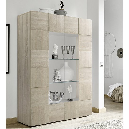 Aspen Wooden Display Cabinet In Sonoma Oak With 2 Doors