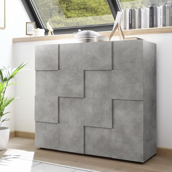 Aspen Wooden Highboard In Concrete With 2 Doors