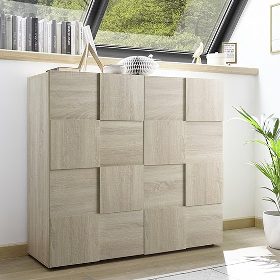 Aspen Wooden Highboard In Sonoma Oak With 2 Doors
