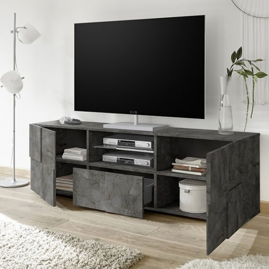 Aspen Wooden Large TV Stand In Oxide With 2 Doors 1 Drawer_2