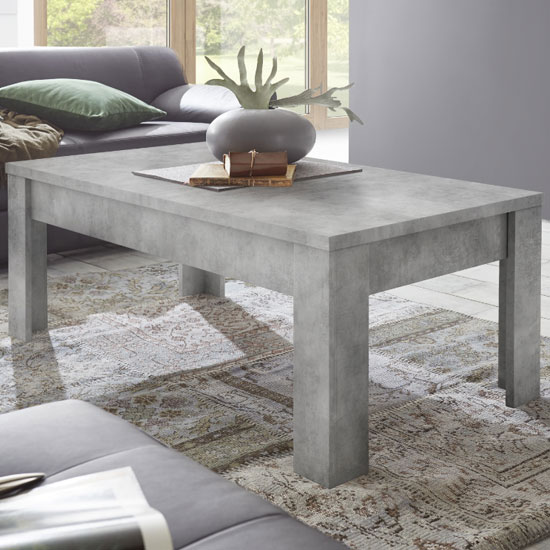 Aspen Wooden Rectangular Coffee Table In Concrete