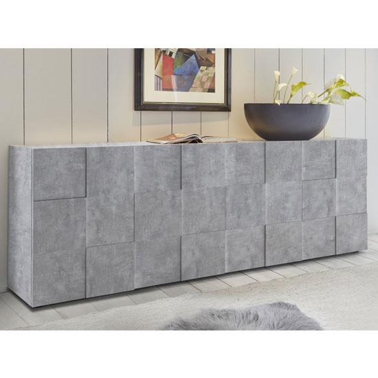 Aspen Wooden Sideboard In Concrete With 4 Doors