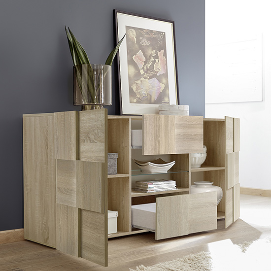 Aspen Wooden Sideboard In Sonoma Oak With 2 Doors 2 Drawers_2