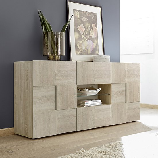 Aspen Wooden Sideboard In Sonoma Oak With 2 Doors 2 Drawers