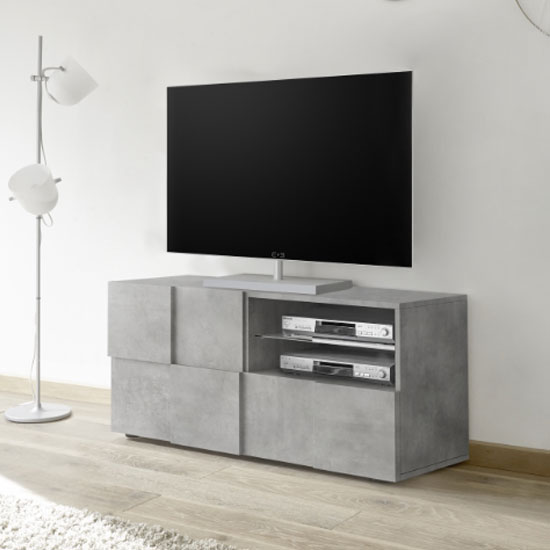 Aspen Wooden Small TV Stand In Concrete With 1 Door 1 Drawer