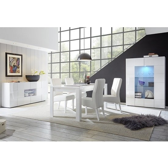 Aspen Modern Sideboard In White High Gloss With LED_5