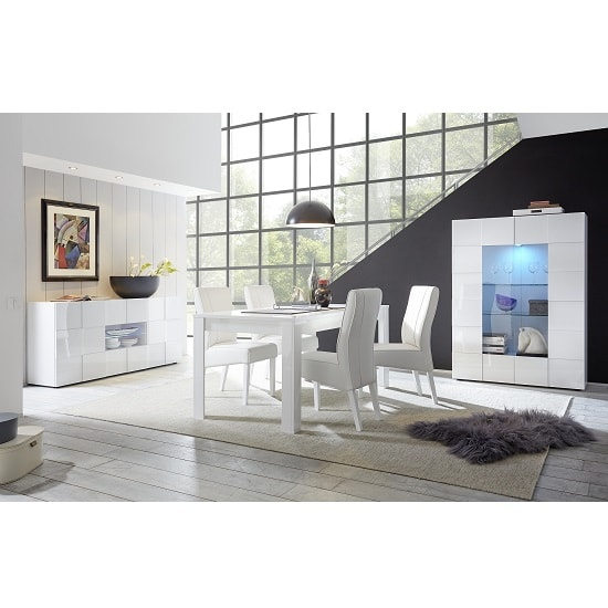 Aspen Modern Sideboard In White High Gloss With LED_3