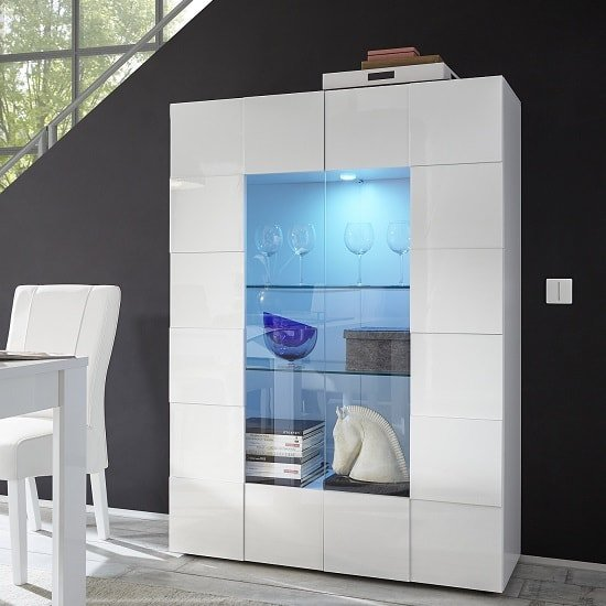 Aspen Modern Display Cabinet In White High Gloss With 2
