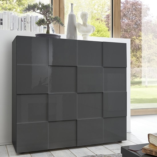 Aspen Modern Highboard In Grey High Gloss With 2 Doors