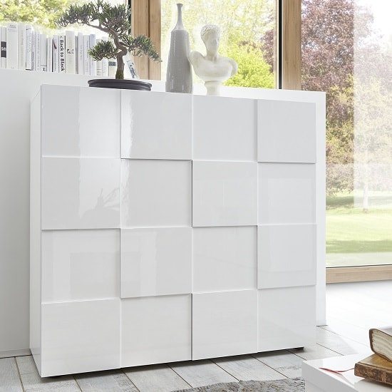 Aspen Modern Highboard In White High Gloss With 2 Doors_1