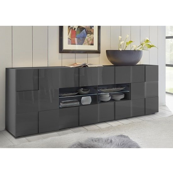 Aspen Modern Sideboard Large In Grey High Gloss With Led